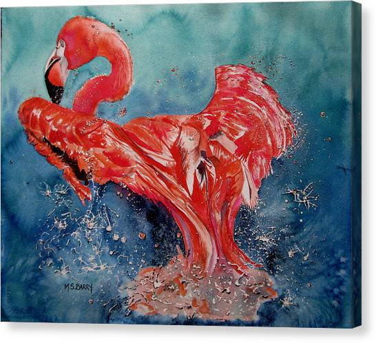 Flamingo Inflight Canvas Print