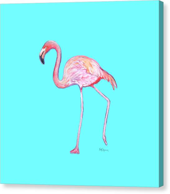 Flamingo On Blue Canvas Print