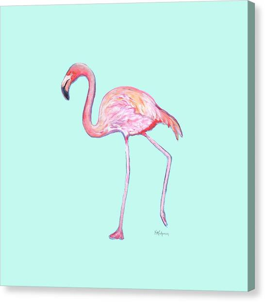 Flamingo On Mint Background Canvas Print