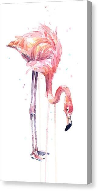 Flamingos Canvas Print - Flamingo Painting Watercolor by Olga Shvartsur