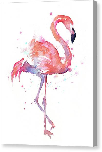 Rights Canvas Print - Flamingo Watercolor Facing Right by Olga Shvartsur