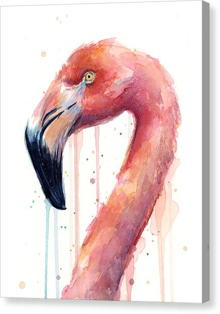 Flamingos Canvas Print - Flamingo Watercolor Illustration by Olga Shvartsur