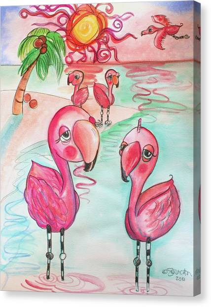 Flamingos In The Sun Canvas Print