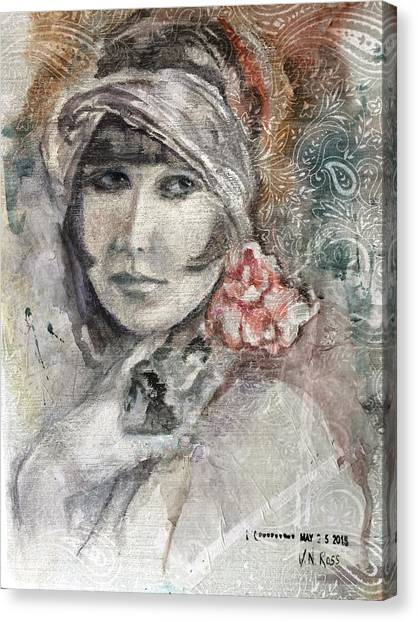 Flapper With Peony Canvas Print