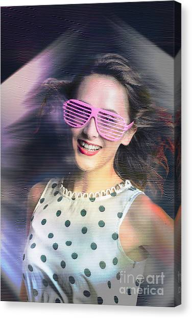 Future Tech Canvas Print - Flashback Of The Retro Hologram Girl by Jorgo Photography - Wall Art Gallery