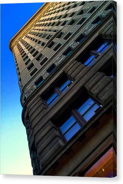 Flat Iron Sunset Canvas Print by Keith Rousseau