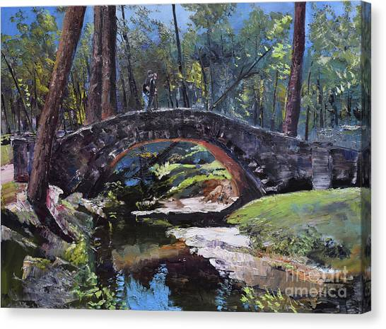 Canvas Print featuring the painting Flat Rock Park - Two Very Special People-columbus Ga by Jan Dappen
