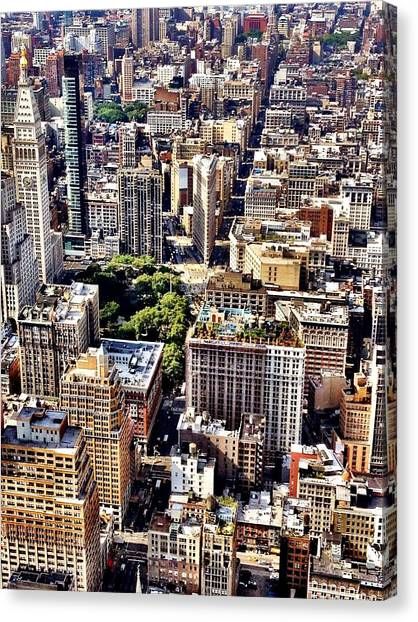 Skyscrapers Canvas Print - Flatiron Building From Above - New York City by Vivienne Gucwa