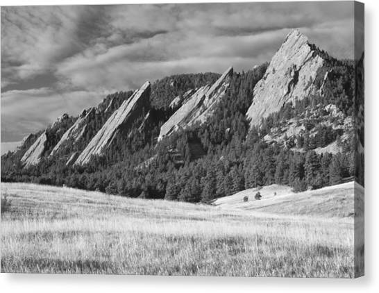 Flatiron Morning Light Boulder Colorado Bw Canvas Print