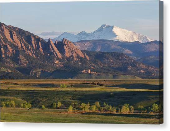 Flatirons And Longs Peak Canvas Print