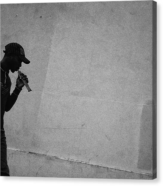 Paris Canvas Print - Flautist  #shape #shilouette #man by Rafa Rivas
