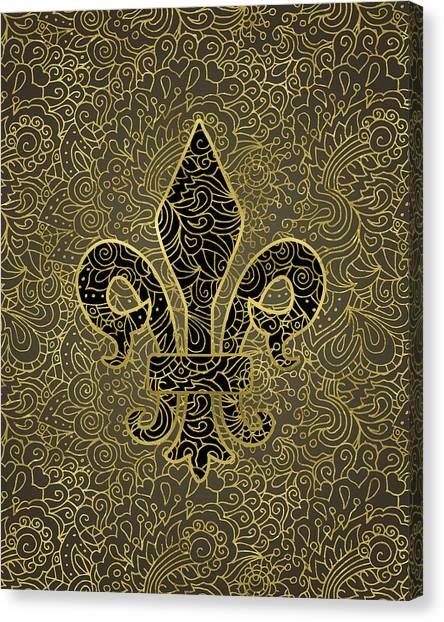 Fleur De Lis Canvas Print - Fleur De Lis - A Gold Whisper by Flo Karp