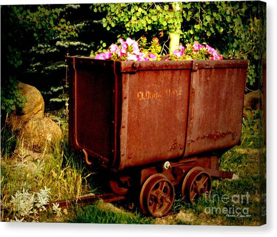 Fleurs In Rustic Ore Car Canvas Print by Christine S Zipps