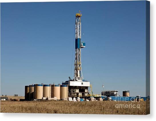 Fracking Canvas Print - Flex Drilling Rig, Bakken Shale by Inga Spence