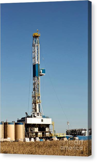 Fracking Canvas Print - Flex Drilling Rig by Inga Spence
