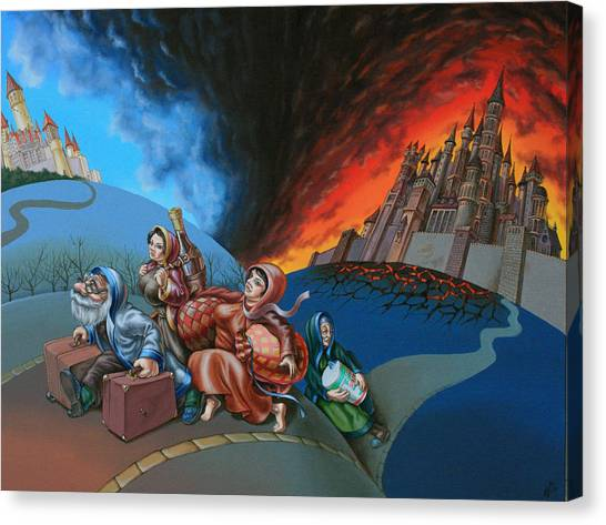 Flight Of Lot Out From Sodom Canvas Print