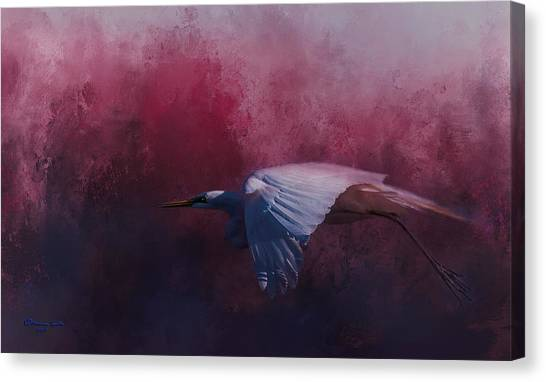 Egrets Canvas Print - Flight Of The Egret by Marvin Spates