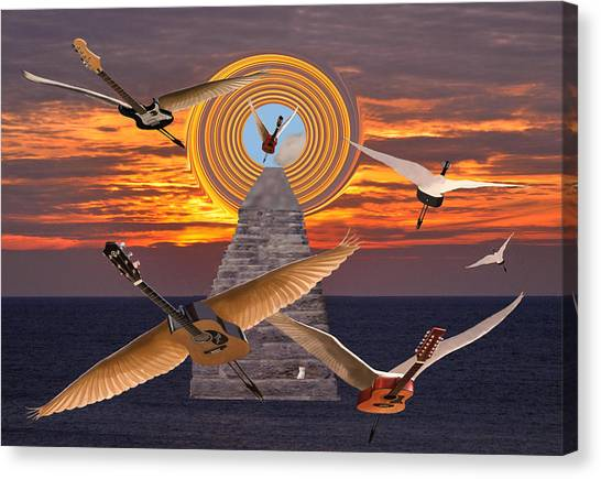 Flight Of The Guitars Canvas Print