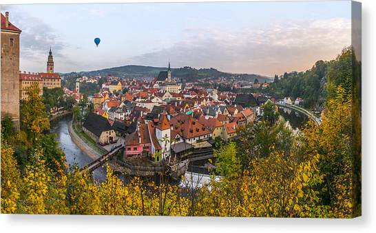 Flight Over The Medieval Town Canvas Print