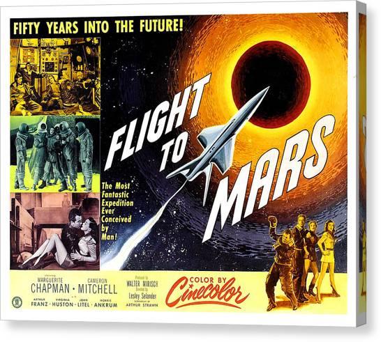 Rocket Canvas Print - Flight To Mars, 1951 by Everett