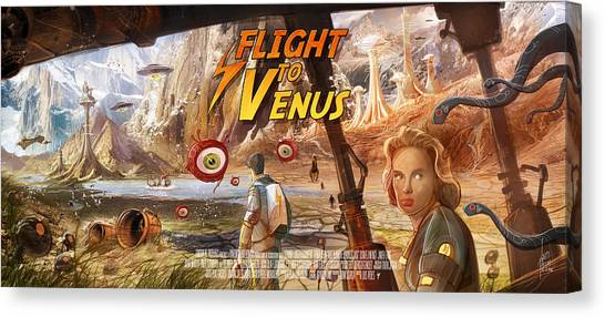 Imaginary Worlds Canvas Print - Flight To Venus Fake Movie Poster by Luis Peres