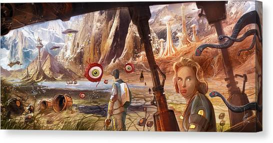Forbidden Planet Canvas Print - Flight To Venus Original Painting by Luis Peres