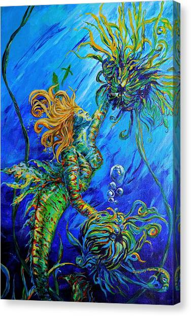 Floating Blond Mermaid Canvas Print