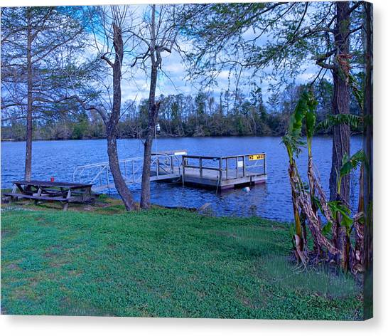 Floating Fishing Dock Canvas Print by Bill Perry