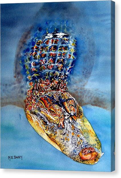 Floating Gator Canvas Print by Maria Barry
