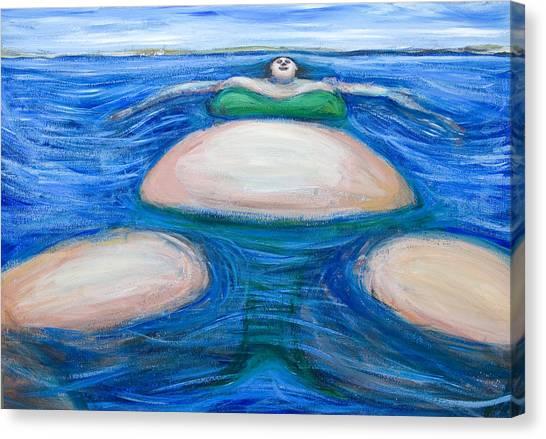 Floating Giant Fat Woman In Her Favorite Green Bikini Canvas Print by Kazuya Akimoto