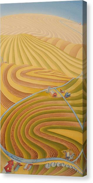 Canvas Print featuring the painting Floating Over Fields II by Scott Kirby