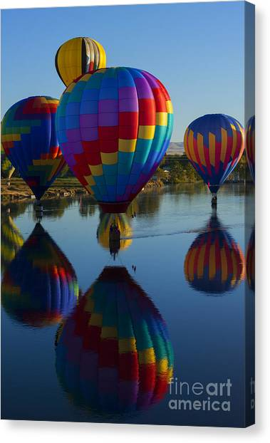Hot Air Balloons Canvas Print - Floating Reflections by Mike Dawson