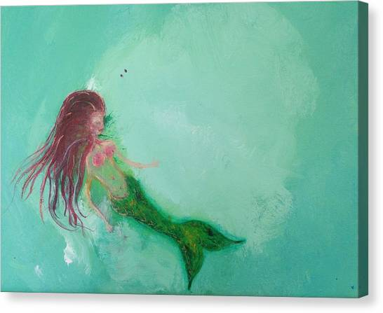 Mermaids Canvas Print - Floaty Mermaid by Roxy Rich