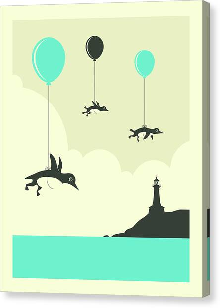 Penguins Canvas Print - Flock Of Penguins - 1 by Jazzberry Blue