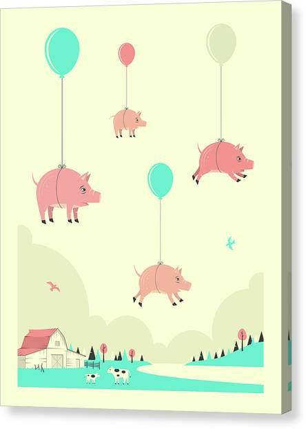 Pigs Canvas Print - Flock Of Pigs by Jazzberry Blue