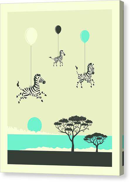 Zebras Canvas Print - Flock Of Zebras - 1 by Jazzberry Blue