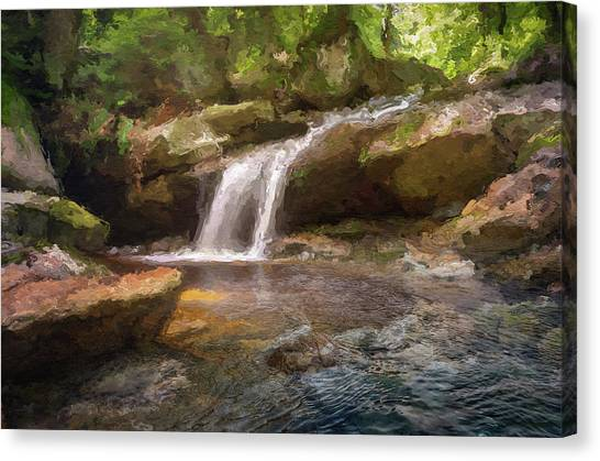 Flooded Waterfall In The Forest Canvas Print