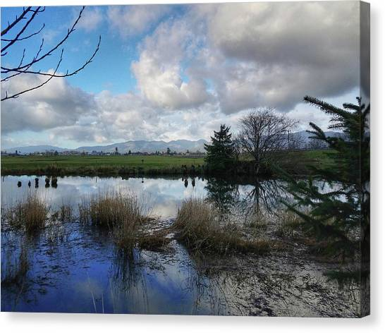Canvas Print featuring the photograph Flooding River, Field And Clouds by Chriss Pagani