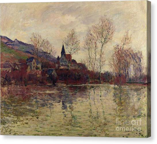 Flooding Canvas Print - Floods At Giverny by Claude Monet