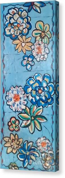 Floor Cloth Blue Flowers Canvas Print
