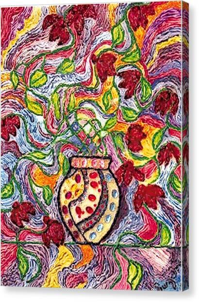 Floowers In A Jeweled Vase Canvas Print by Brenda Adams