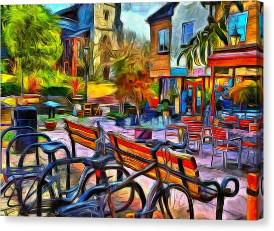 Floppy Bikes And Empty Benches Canvas Print