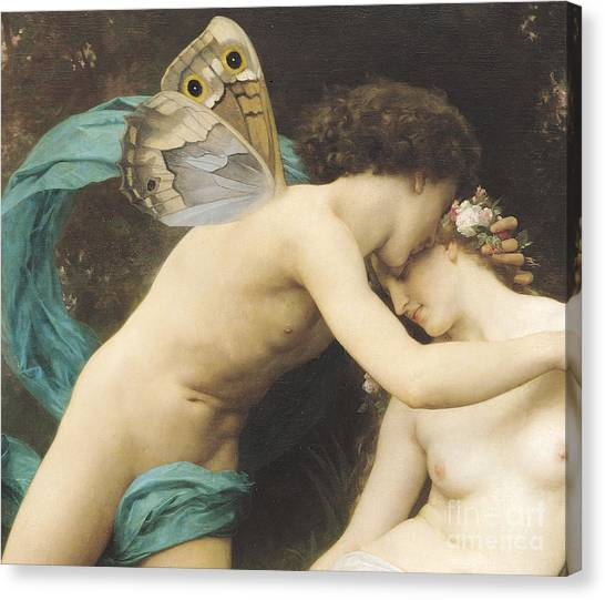 Butterflies Canvas Print - Flora And Zephyr by William Adolphe Bouguereau