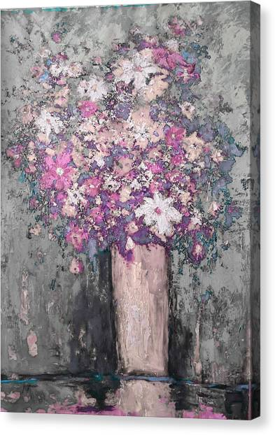Floral Abstract - Reverse - Modern Impressionist Palette Knife Work Canvas Print