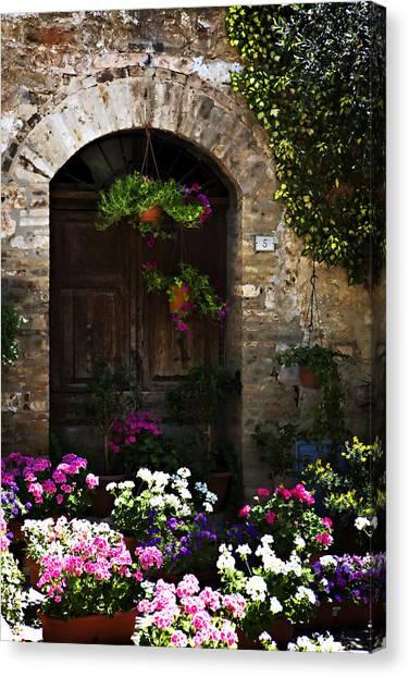 Floral Adorned Doorway Canvas Print