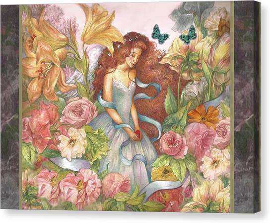 Canvas Print featuring the painting Floral Angel Glamorous Botanical by Judith Cheng