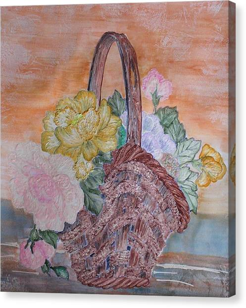 Floral Basket Canvas Print by John Vandebrooke