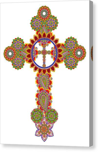Floral Celtic Cross  Canvas Print by Aleksandr Volkov
