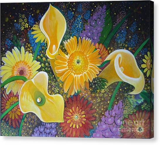 Floral Fireworks Canvas Print