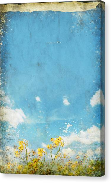 Border Wall Canvas Print - Floral In Blue Sky And Cloud by Setsiri Silapasuwanchai